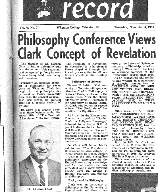 GHC Review 17; The Philosophy of Gordon H. Clark 4