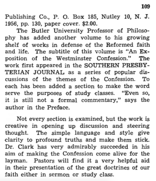 ghc review 8; what presbyterians believe, review, blue banner faith and life, vol 12, jan-mar, 1957, no. 1, p. 109. b