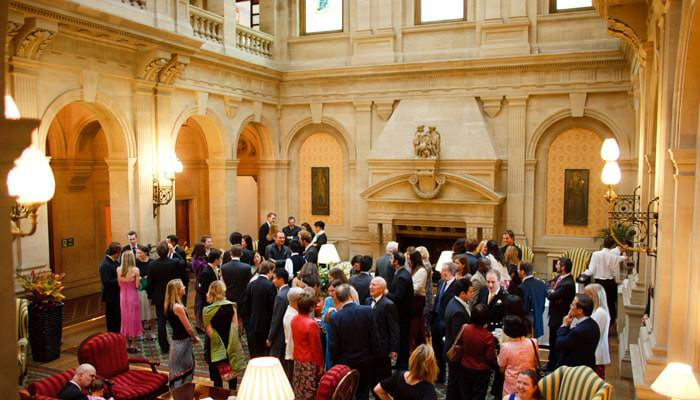 Wedding Photograph of drinks reception at Heythrop Park, Oxfordshire