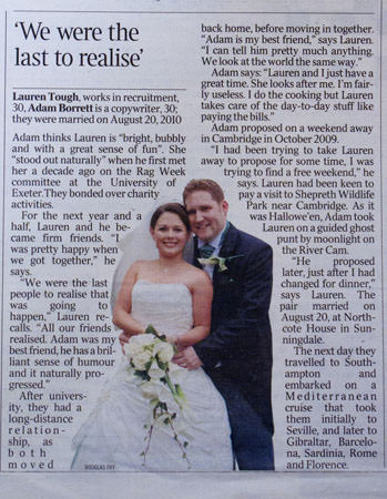 Lauren and Adam's wedding photograph featured in The Times newspaper