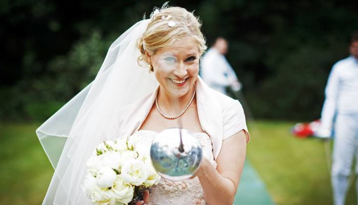 Wedding Photograph - Bride with Epee at Hurlingham Club, Fulham, London