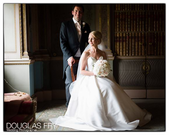 Bride and Groom photographed in front of window at Syon House
