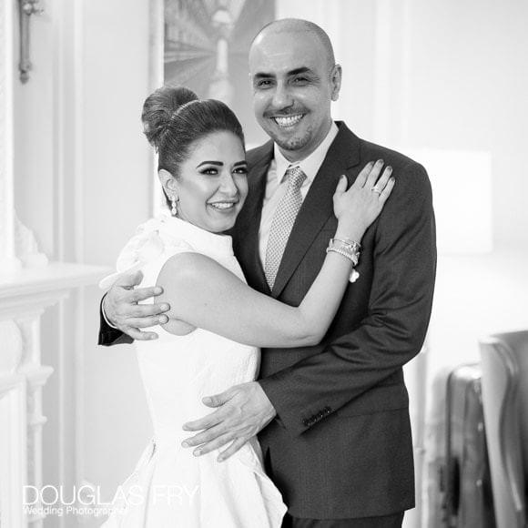 Wedding couple photographed at Claridges Hotel in London