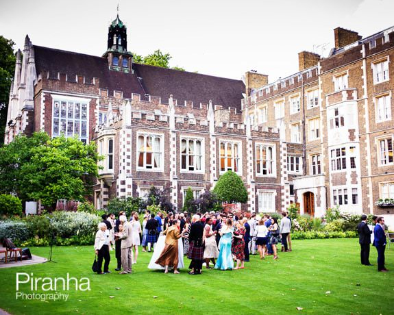 Middle temple and gardens photographed from outside with guests on the lawn