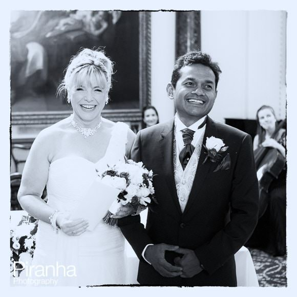 Black and white photograph at end of wedding ceremony in london