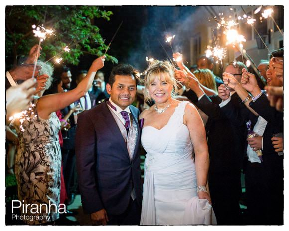 Wonderful sparklers for bride and groom going away in London