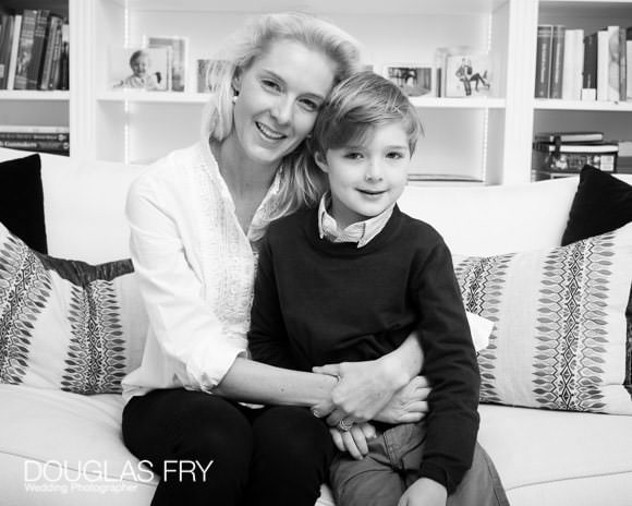 Mother and son in black and white