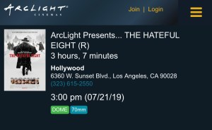 ArcLight Cinemas Presents - The Hateful Eight (screenshot)