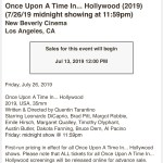 Once Upon A Time In… Hollywood – Brown Paper Tickets – Sales Alert (screenshot)