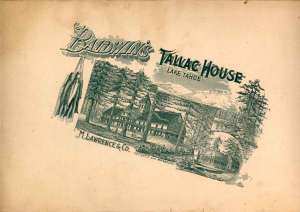 Tallac House Menu - 1900