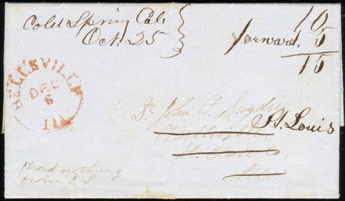 Letter with both Cold Spring and Placerville postmarks. Forwarded to St, Louis - 1852