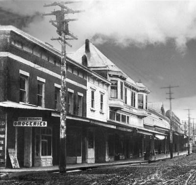 """Herrick Building and adjacent """"Hangman's Tree"""" 1890"""