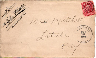Envelope postmarked (received) Latrobe - 1904