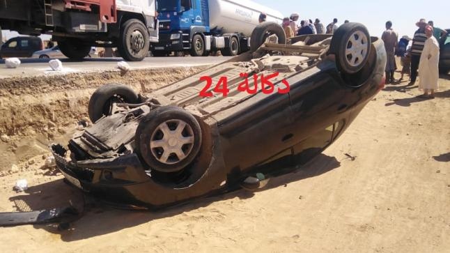 عاجل …اصطدام سيارتين على مستوى الطريق الرابط بين سيدي بنور و مركز الطويلعات