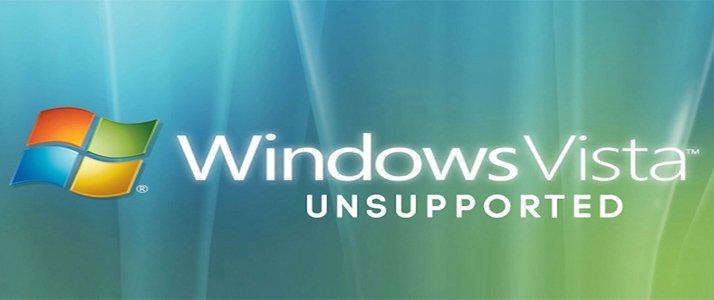 Windows Vista background stating 'Windows Vista Unsupported'