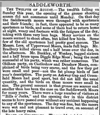 WEB GROUSE SHOOTING Huddersfield Chronicle August 18th 1866
