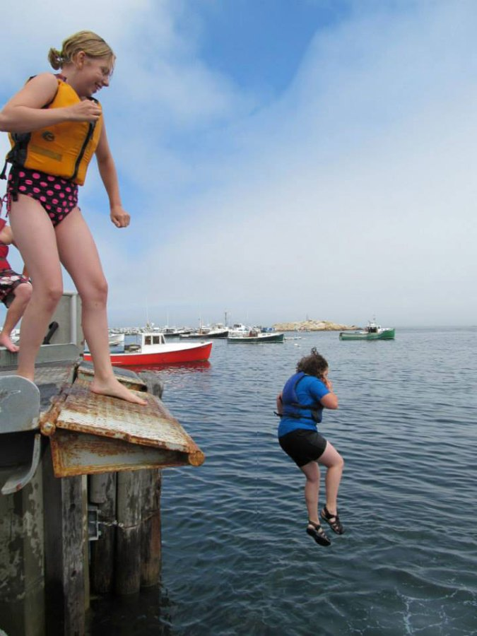 Jumping off the dock on Matinicus Island.