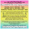 **Note, all roles have been filled. Thank you for your interest, be sure to like Bill's Shorts on Facebook. Auditions for Bill's Shorts Two: Chart-Topping Comedies. Tuesday, June 7 2016, 5pm-10pm Monday, June 13, 206, 5PM-10pm (Cancelled) Callbacks: Tuesday, June 14, 2016 5pm-10pm Six musically inspired plays by Anthony Aguilar, Bill Blush, Megan Breen, Diana […]