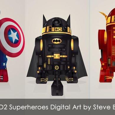Droid R2-D2 Superheroes Digital Art by Steve Berrington