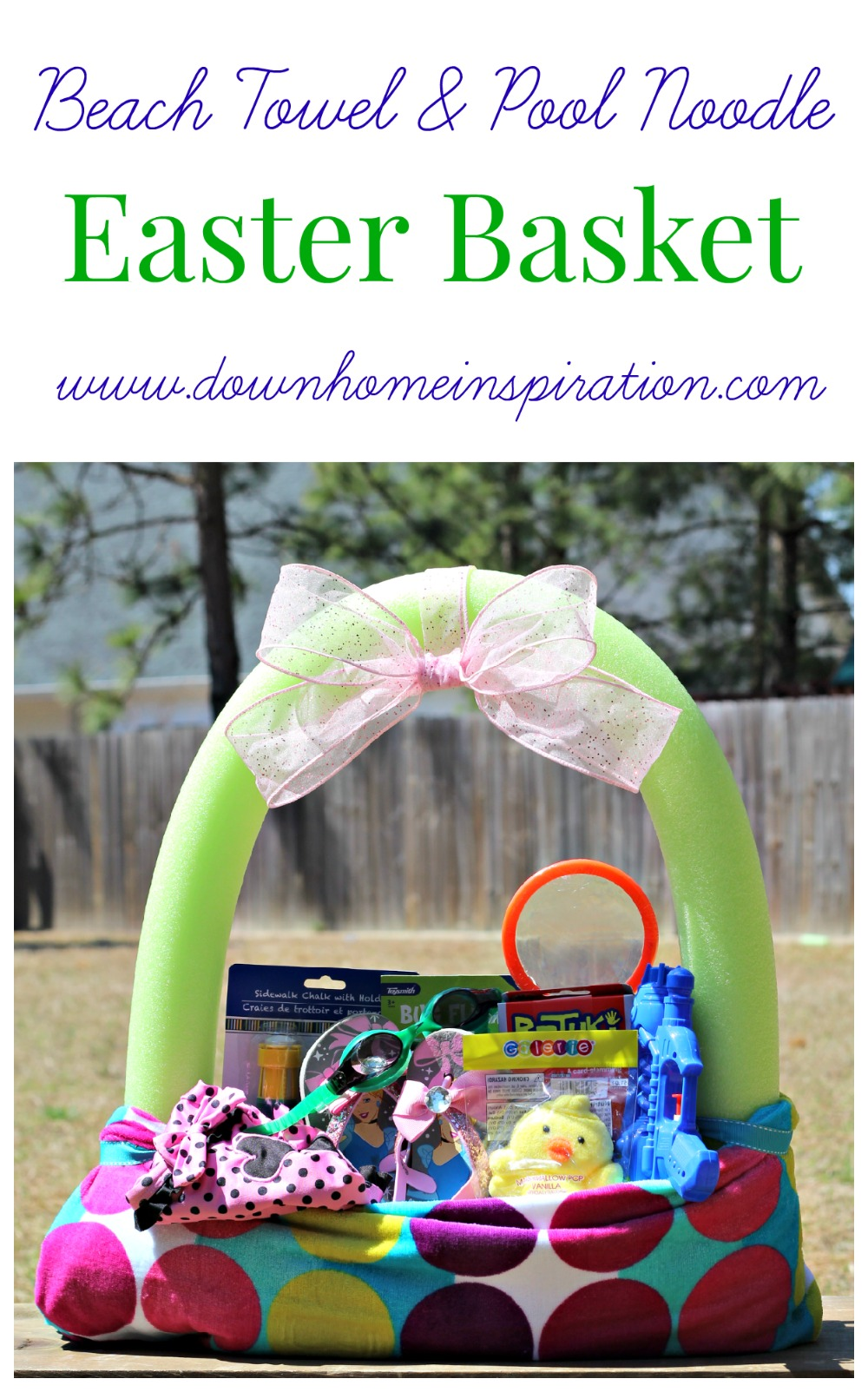 Make a fun easter basket using a beach towel and pool noodle down beach towel pool noodle easter basket 3 negle Images