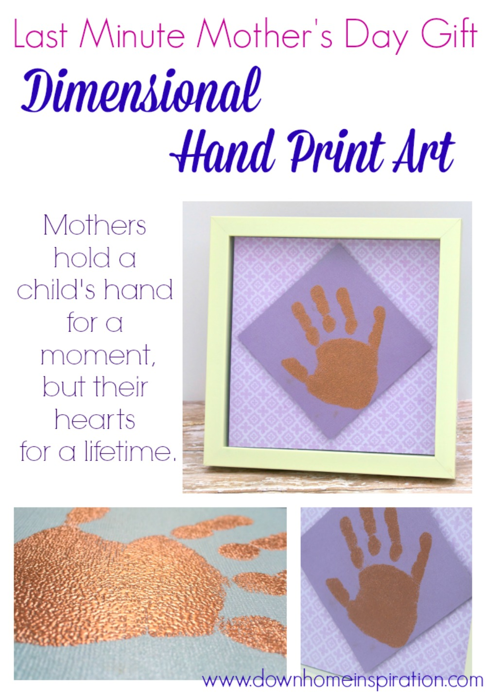 Dimensional Hand Print Art - Last Minute Mother's Day Gift