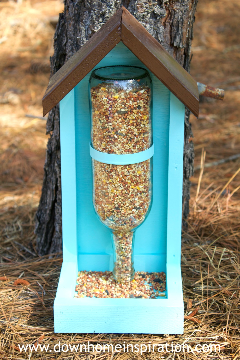 How to make a wine bottle bird feeder down home inspiration for Plastic bottle bird house