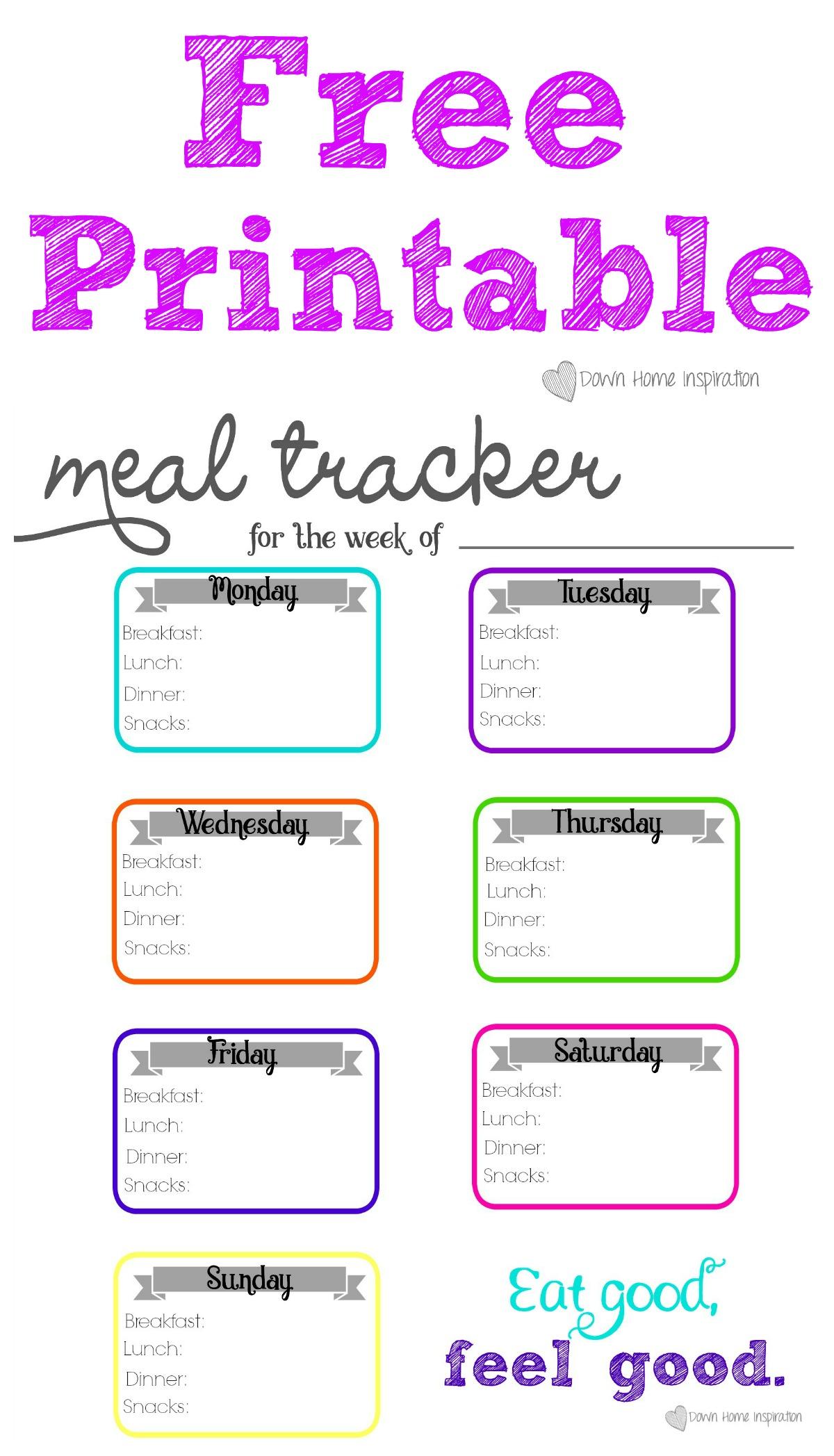 Printable Meal Tracker Worksheet