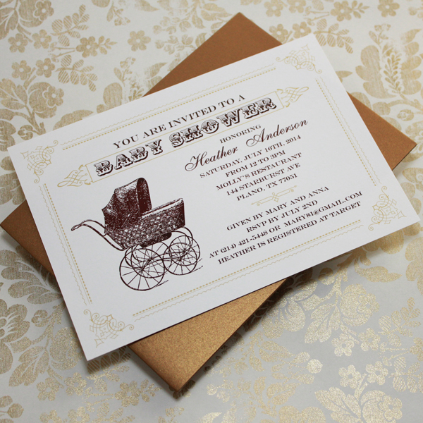 Vintage Buggy Baby Shower Invitation Template Print