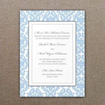 French Damask Wedding Invitation Template 1