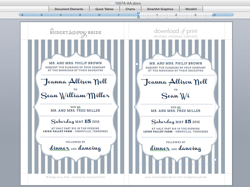 Diy Wedding Invitation With Bold Stripes Print