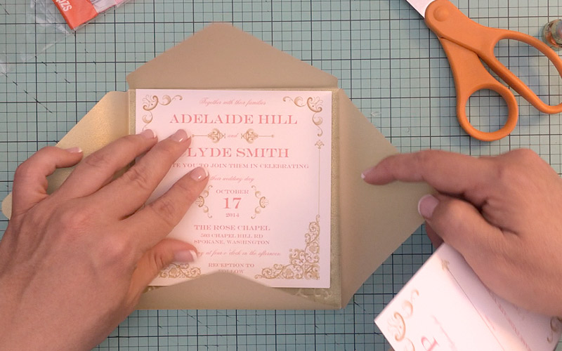 Gold Pink Lace Wedding Invitation Template Print