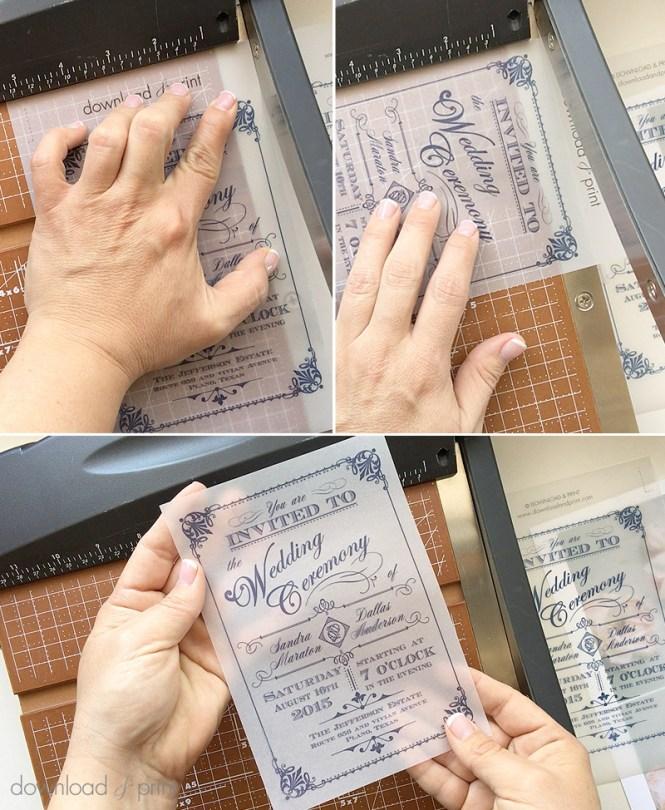 Diy Translucent Wedding Invitation With Vintage Charm