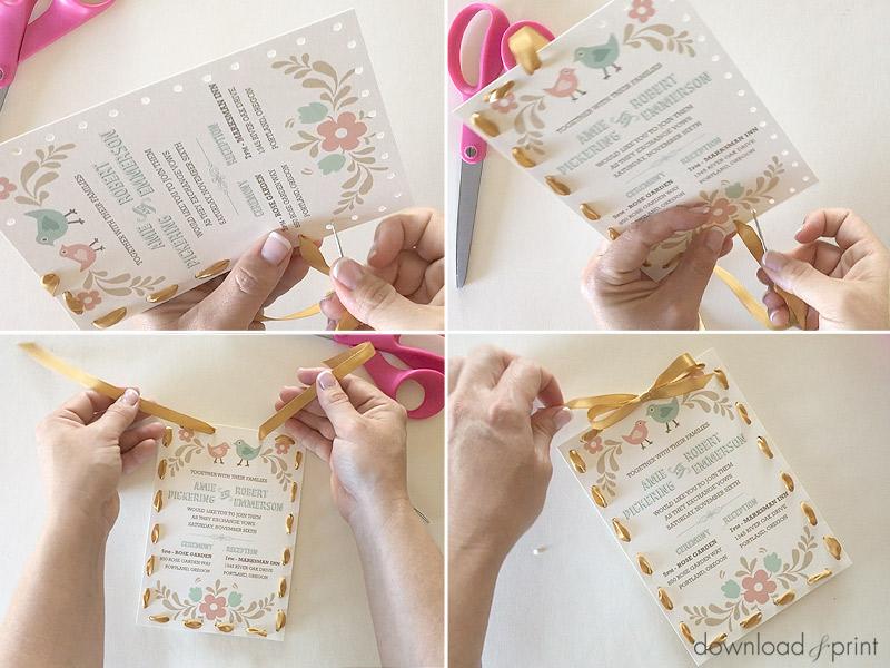 Diy Handsch Folksy Wedding Invitation Print