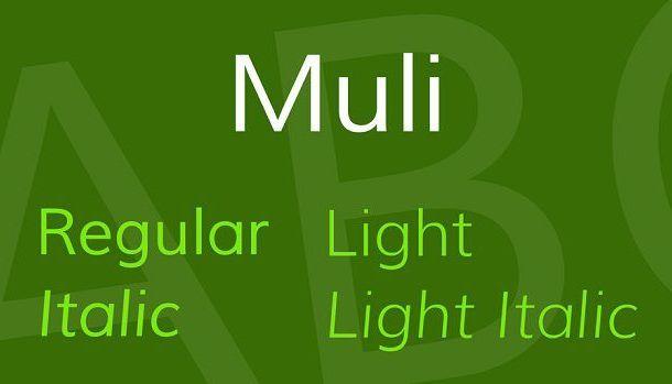 Muli Font Family Free