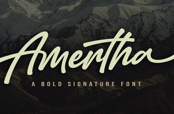 Amertha Bold Signature Script Font