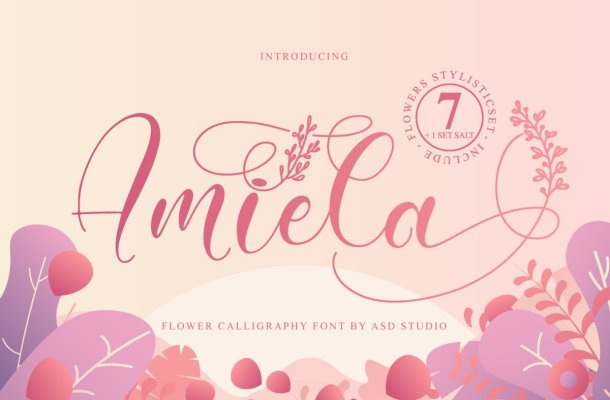 Amiela Flower Calligraphy Script Font