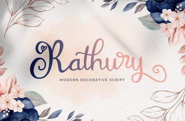 Rathury Decorative Script Font