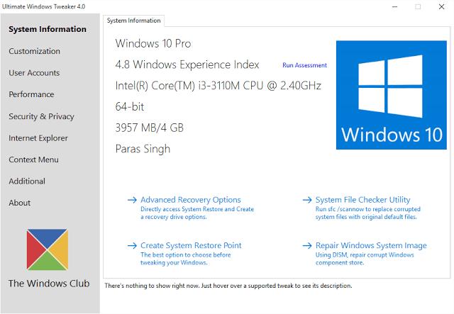Get Best Windows 10 Tweaks Using Ultimate Windows Tweaker 4