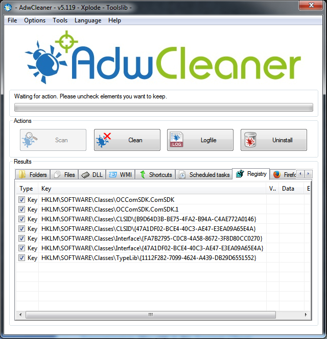 adwcleaner registry scan