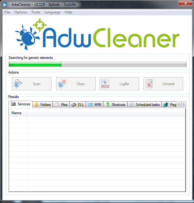 adwcleaner scan in action