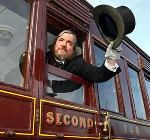 """""""W.R. Anketell, Esq"""" gives the signal for the train to leave for """"Belfast"""" (a.k.a. Inch Abbey)"""