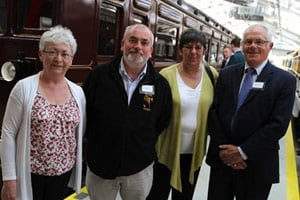 Looking over the new £700,000 visitors' centre at the Downpatrick and County Down Railway are Patricia McGrath, secretary of the Downpatrick and County Down railway, Philip Campbell, Magnus Vikings Association, Sally Shields and Down District Councillor Patsy Toman. Photo (c) Down News