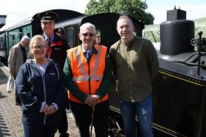Pictured beside our steam engine - Emma Rogan MLA, Robert Gardiner (DCDR Chairman), Albert Hamilton (DCDR Board member), Chris Hazzard MP.