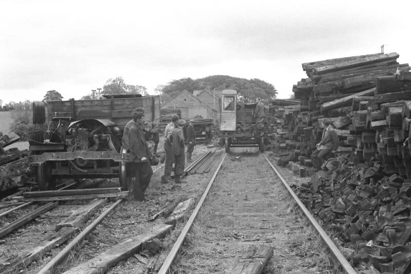 Track lifting at Tullymurry station in 1953