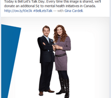 Bell Lets Talk Day–Tweet, post the image, send a text for #MentalHealth to Help Canadians