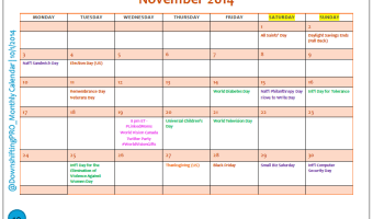 November Editorial Calendar for Bloggers–Printable–Save the Date