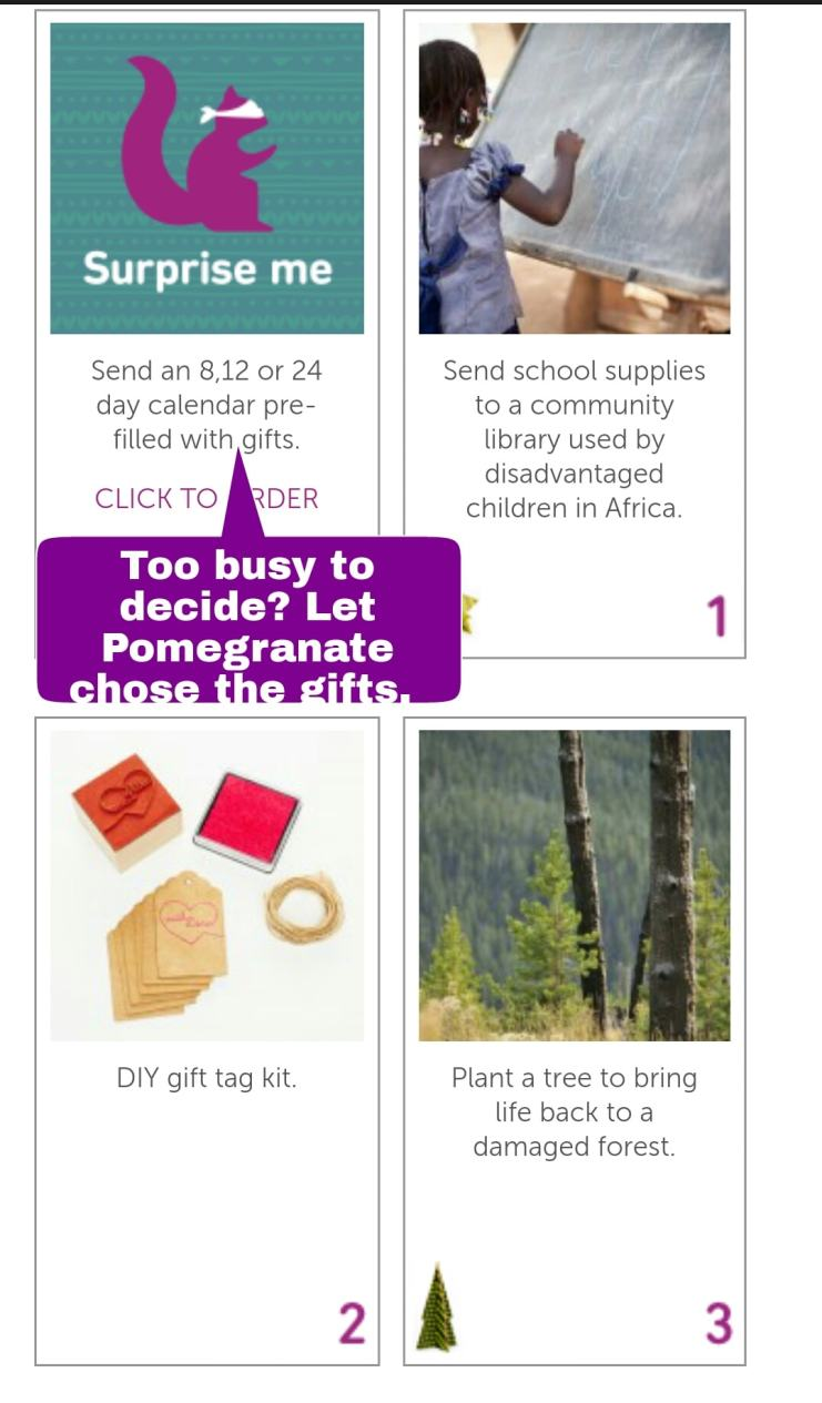 Pomegranate Advent Calendar Gift Choices