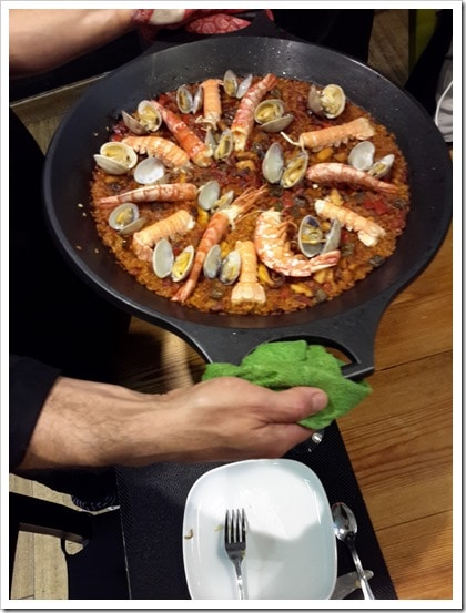 Seafood Paella at bcnKitchen Spanish Cooking Class Barcelona Spain #TBEX