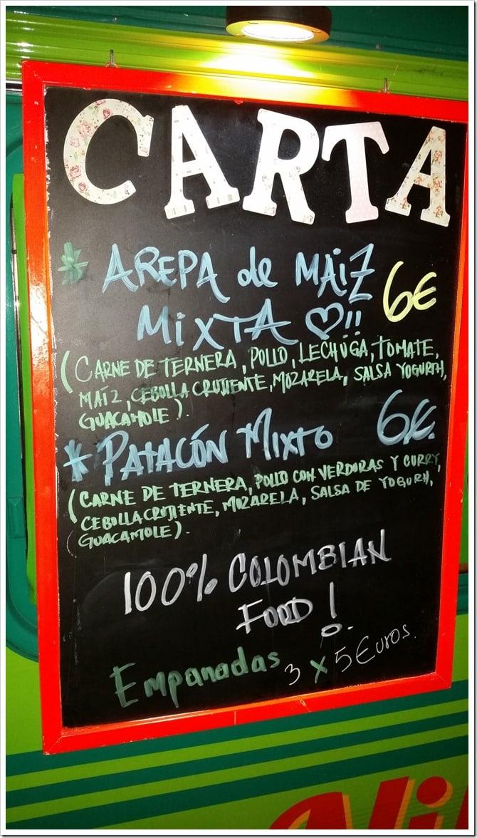 Lloret de Mar, Spain - Food Truck & Caravan Food Festival - Colombian Food Truck Menu