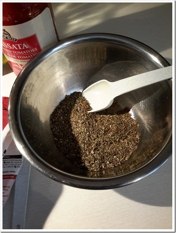 Italian Seasoning for the Beef Bolognese Sauce - Teen Chef Series @DownshiftingPRO - Learning How to Cook Spaghetti Sauce